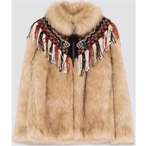 Zara Faux Fur Jacket Coat Tan Embroidered NWT XS
